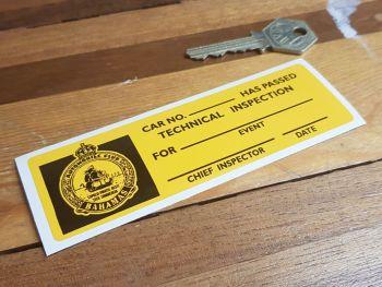 "Nassau Bahamas Automobile Club Scrutineers Sticker 5"""