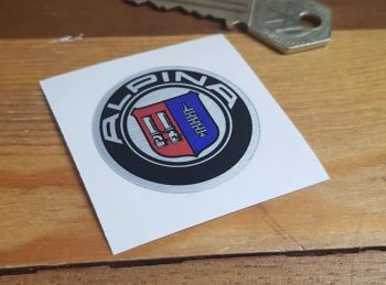 BMW Alpina Logo Brushed Foil Style Sticker 40mm