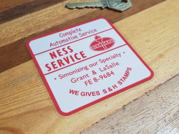 Standard Oil Ness Service Station Window Sticker 3""