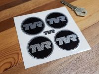 TVR Black & Silver Coachline Style Wheel Centre Stickers - Various Sizes