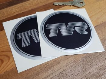 "TVR Black & Silver Rimmed Circular Stickers - 3"" or 3.5"" Pair"