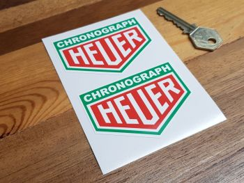 "Chronograph Heuer Green Surround Stickers 3"" Pair"