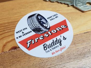 Firestone Buddy's Tire & Battery Inside Glass Sticker 59mm