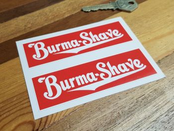 """Burma-Shave Oblong Stickers - 4"""" or 8"""" Pair"""