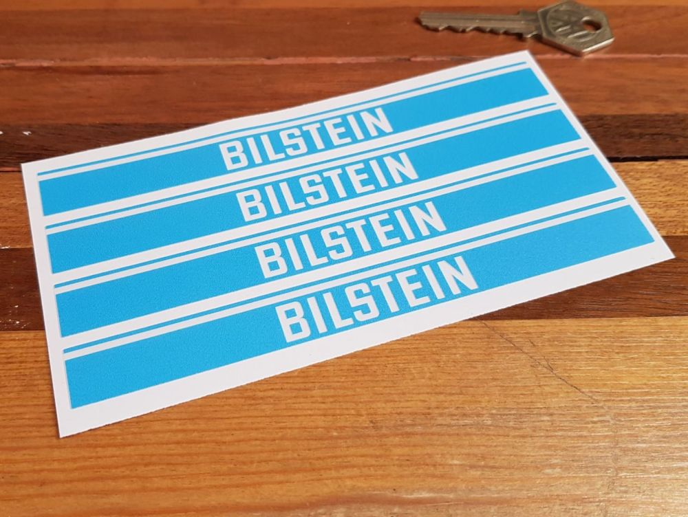 Bilstein Shock Absorbers Blue & Clear Oblong Stickers - Set of 4 - 6