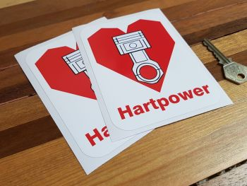 "Hartpower Red Text Car Stickers 5.5"" Pair"