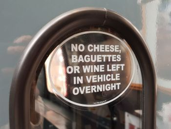 No Baguettes Funny French Van/Car White & Clear Sticker 5""