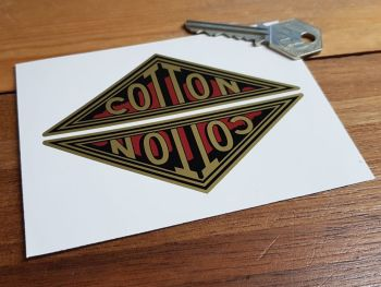 """Cotton Motorcycle Triangular Gold Stickers. 4"""" Pair."""