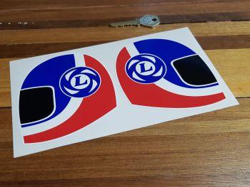 "British Leyland Blue & Red Helmet Stickers. 2.5"", 4"", 6"" or 9"" Pair."