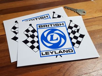 "British Leyland Chequered Flag Stickers with Black Text. 6"" Pair."