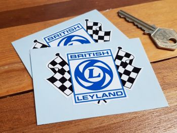 "British Leyland Chequered Flag Stickers. 3"" or 6"" Pair."