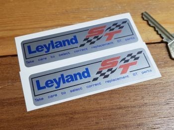 "British Leyland Red ST Silver Stickers. 4"" Pair."