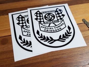 """British Leyland Special Tuning Abingdon Black & Clear Shield Stickers. 4"""" or 5.5"""" Pair."""