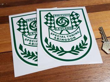 "British Leyland Special Tuning Abingdon Green & White Shield Stickers. 5.5"" Pair."