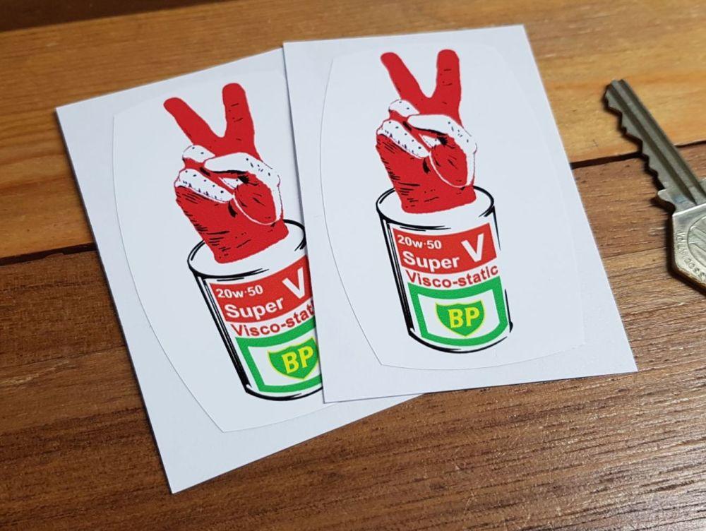 BP 'V' Super Visco-static Oil Can Stickers. 3.5