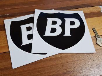 "BP Black & White Shield Stickers. 6"" Pair."