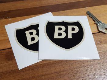 "BP Black & Beige Shield Shaped Stickers. 3"" Pair."