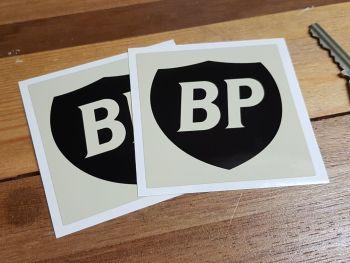 "BP Black & Beige Shield in Beige Square Stickers. 3"" Pair."