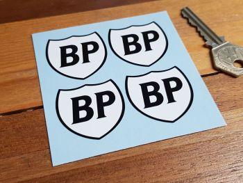 "BP Black & White Shield Stickers. Set of 4 1.5""."