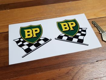 "BP Pre '58 Style Shield & Chequered Flag Stickers. 3"" or 6"" Pair."