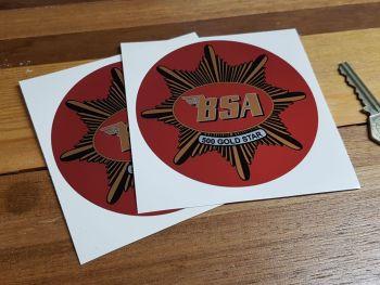 "BSA '500 Gold Star' Red Circular Stickers. 4"" Pair."