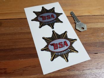"""BSA '350 Gold Star' Shaped Stickers. 3"""" Pair."""