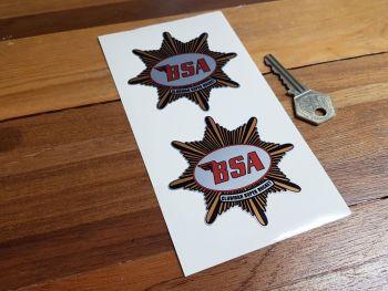 "BSA 'Clubman Super Rocket' Star Shaped Stickers. 3"" Pair."