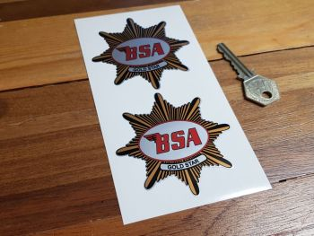 """BSA 'Gold Star' Shaped Stickers. 3"""" Pair."""