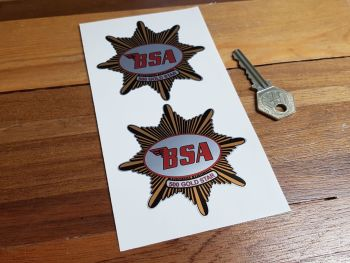 """BSA '500 Gold Star' Shaped Stickers. 3"""" or 4"""" Pair."""