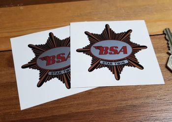 "BSA 'Star Twin' Shaped Stickers. 3"" Pair."