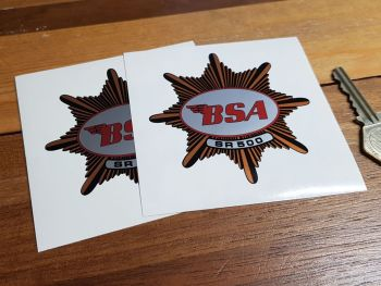 "BSA 'SR 500' Star Shaped Stickers. 3"" Pair."