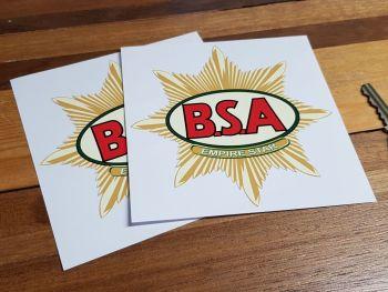 "BSA Empire Star Stickers. 4.5"" Pair."