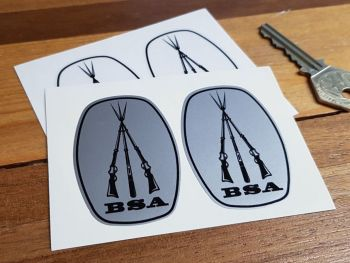 """BSA Piled Arms Monochrome Ovoid Stickers. 2.5"""" Pair."""