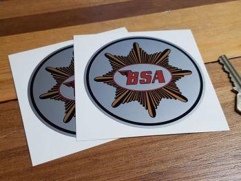 """BSA Plain Gold Star Circular Stickers. 3.5"""" or 4"""" Pair."""