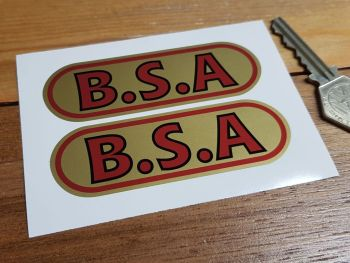 """BSA Red & Gold Oval Stickers. 2"""", 3.5"""" or 4.5"""" Pair."""