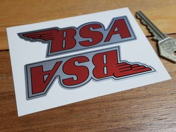 """BSA Shaped Red & Silver Stickers. 4"""" Pair."""