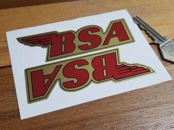 """BSA Shaped Red & Gold Stickers. 4"""" or 6"""" Pair."""