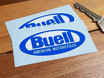 "Buell American Motorcycles Blue & White Oval Stickers 3"" Pair"