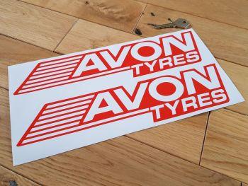 "Avon Tyres Streaked Negative Style Cut Vinyl Stickers 12"" Pair"