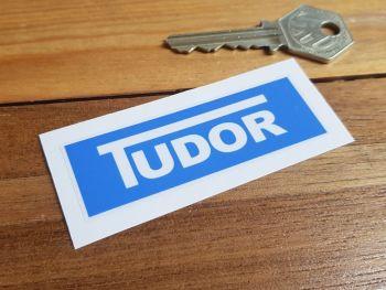 Tudor Windscreen Washer Blue Sticker 75mm x 25mm