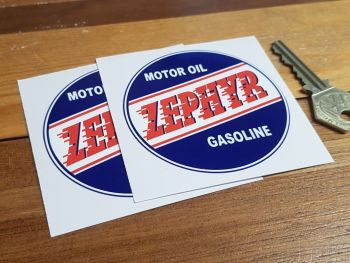 "Zephyr Motor Oil Gasoline Circular Stickers 3"" Pair"
