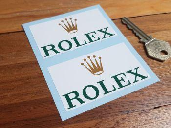 "Rolex Sponsors Oblong Stickers 3"" Pair"