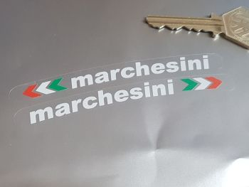 """Marchesini Curved Wheels Stickers White on Clear - Set of 4 - 4"""""""