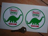 "Sinclair Dino Gasoline Circular Stickers. 3.5"" Pair."