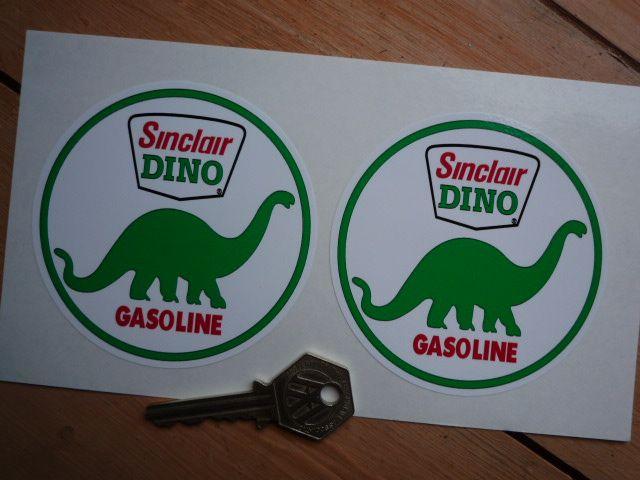 Sinclair Dino Gasoline Circular Stickers. 3.5