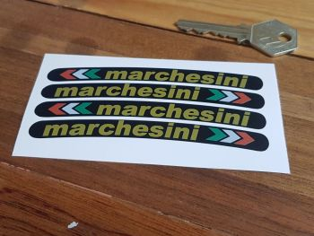 """Marchesini Curved Wheels Stickers Gold & Black - Set of 4 - 4"""""""
