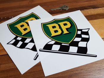 "BP Pre '58 Style Shield & Chequered Flag Stickers. 9"" Pair."