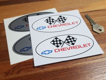 "Chevrolet Hot Rod Oval Style Stickers. 4.75"" Pair."