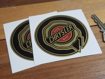 "Chrysler Gold Circular Logo Stickers. 3"" or 4"" Pair."