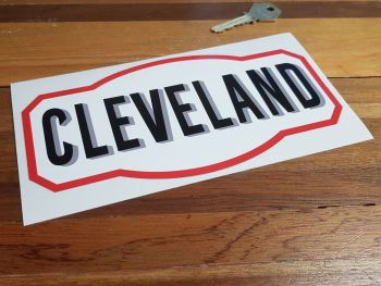 "Cleveland Shaped 50's & 60's Style Sticker. 4"", 8"" or 12""."
